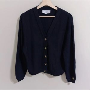 St. John Collection Gold Buttons Black Cardigan| S
